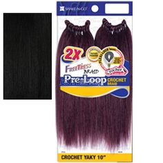 """Freetress Pre-Loop Crochet Yaky 10"""" - Color 1 - Synthetic Braiding"""