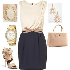 Navy and Tan Outfit | Beige, Tan, and Navy Outfit by cakeordie