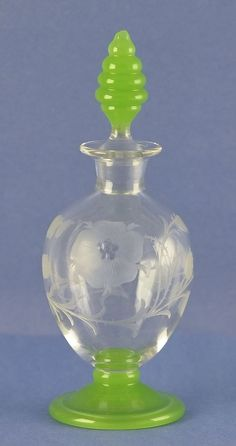 Circa 1920's, American, Etched Crystal & Apple Green Colored Perfume / Cologne Bottle