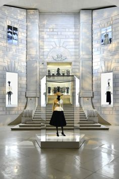 The Bar suit at the entrance of the Dior exhibition at Les Arts Décoratifs.