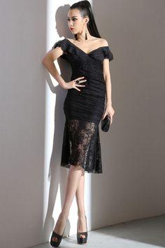 Goddess Off-Shoulder Lace Dress