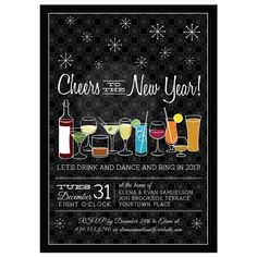Retro Cocktails Black New Years Eve Party Invitation Retro Cocktails Black New Years Eve Party Invitation Holiday Themes, Holiday Parties, Alcoholic Drinks, Cocktails, Holiday Party Invitations, Raffle Tickets, New Years Eve Party, Chinese New Year, Pattern Blocks