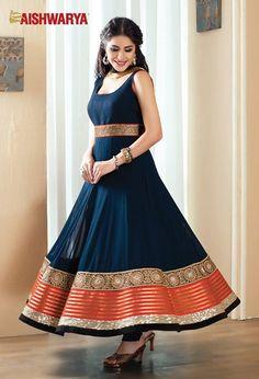 Bold blue with red borders completely changes this simple Anarkali salwar kameez Dress to formal wear for family functions etc. Buy Anarkali salwar kameez suit online - http://www.aishwaryadesignstudio.com