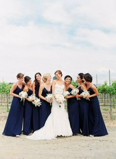 How to Get Gorgeous Wedding Photos Navy Blue Bridesmaids, Navy Bridesmaid Dresses, Bridesmaid Flowers, Wedding Bridesmaids, Wedding Dresses, Blue Dresses, Wedding Flowers, Bridesmaid Outfit, Bridesmaid Ideas