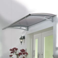 W x 3 ft. D Plastic Standard Door Awning Color: Gray Polycarbonate Roof Panels, Door Canopy, Window Awnings, House Entrance, Windows And Doors, Front Doors, Metal Walls, Contemporary Design, Garage