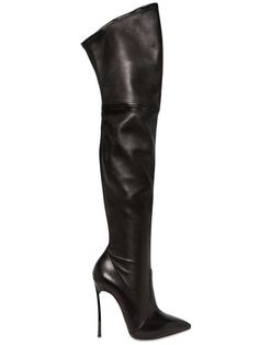 Casadei Blade thigh-high boots in black stretch calfskin with pointed toe  and blade stiletto heel