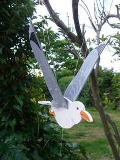 Hanging Wooden Seagull Mobile
