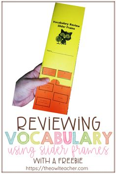 Help your students study and review their vocabulary words using this free slider frame that can be used as a literacy center or for early finishers! And - It's editable! Upper Elementary Resources, Free Teaching Resources, Teaching Social Studies, Teaching Writing, Teaching Strategies, Teaching Science, Teaching Tips, Teacher Lesson Plans, Free Slider