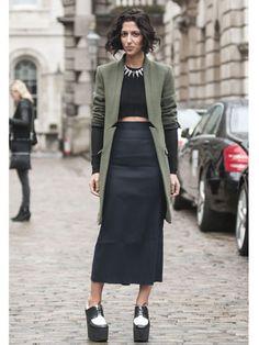 Yasmin Sewell wearing Zara sweater, Miu Miu skirt, and Celine shoes