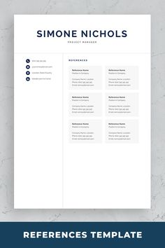 Professional resume template set with one-page and two-page resume designs with matching cover letter and references sheet for a complete and consistent presentation. Creative Cv Template, One Page Resume Template, Modern Resume Template, Cover Letter For Resume, Cover Letter Template, Resume References, Blogging, Microsoft Word 2007, Good Resume Examples