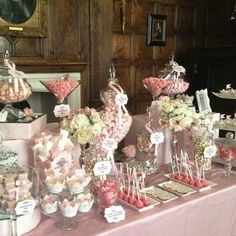 Wedding Candy Buffet In Vintage Pink