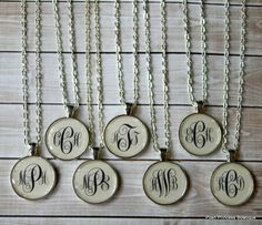 Monogram+Necklace+Bridesmaid+gift+by+PoshPrincessBows1+on+Etsy,+$13.99