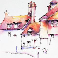 Watercolor Sketchbook, Pen And Watercolor, Building Painting, Ink In Water, Watercolor Landscape Paintings, Urban Sketching, Ink Pen Drawings, Ink Illustrations, Painting Inspiration