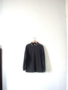 Vintage 90's grunge oversized black polo size medium by manorborn