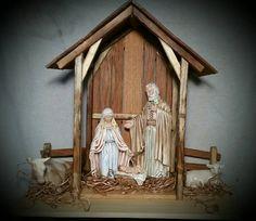 Reclaimed Wood Nativity Stable Creche Christmas Manger Barn