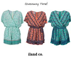 We have a giveway at the moment on our Facebook page.   Click the link below to win one of our gorgeous playsuits!  https://www.facebook.com/ilandco/photos/a.389783997859420.1073741828.389349141236239/620713111433173/?type=3&theater