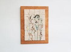 Tablou ceramică: compoziție cu motive vegetale | Corina Marina Ceramics Vintage World Maps