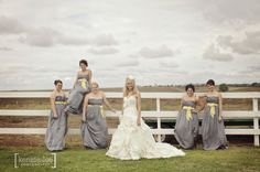LOVE this bridal party pose! Yellow, Gray, Shabby Chic West Texas Wedding | Kensie Lee Photography