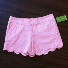 Lilly Pulitzer Pink Seersucker Shorts with Scalloped Edge. Available at 4th&Ocean! 407-878-6656 to order! $49.99