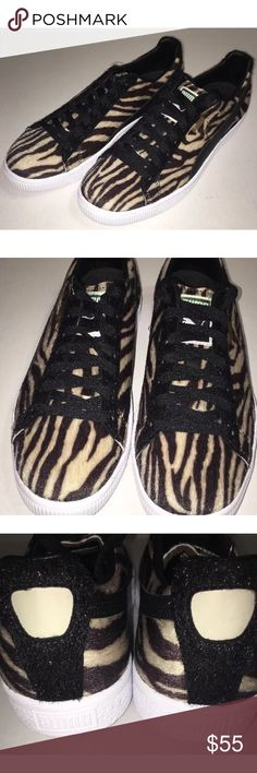 ⭐️ Men's Puma Clyde Sneakers Zebra Faux Fur SZ 9.5 Brand New without box  Men's Clyde Zebra Print men's shoes size 9.5  Color: Black and Oatmeal   Unique Puma shoe featuring zebra print with faux fur material   Shoes are brand new and do not include the original box   Please feel free to check out my other listings. Puma Shoes Athletic Shoes