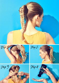 Braided beauty starts with the perfect ponytail. Get the look with Advanced Hairstyle: Spritz Advanced Hairstyle Blow Dry It Quick Dry Primer Spray on damp hair to cut blow-dry time. Tease at the crown for volume before applying Advanced Hairstyle Lock It Clean Gel. Braid tightly, securing with a clear hair elastic at the bottom. Spray with Advanced Hairstyle Lock It Weather Control Hairspray.