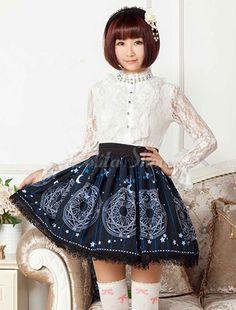 Lolitashow Deep Blue Printed Polyester Lolita Skirt for Girls