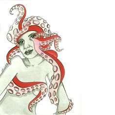 Octopus Lady. All inks.