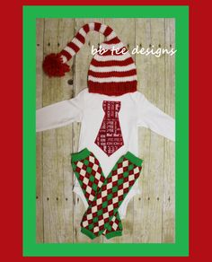 Baby Boys Christmas Hat, Tie Bodysuit, and Argyle Leg Warmers by beyondbaskets on Etsy
