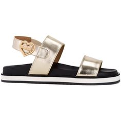 Love Moschino metallic flat sandals (330 CAD) ❤ liked on Polyvore featuring shoes, sandals, grey, metallic flat sandals, gray sandals, metallic flat shoes, love moschino and grey shoes