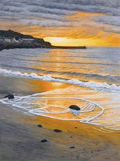 Gallery of Cornwall paintings by artist Sarah Vivian- Sea and Landscapes Sunset Paintings, Cornwall Beaches, Beach Landscape, British Isles, Thought Provoking, Beautiful Beaches, Sunsets, Countryside, Modern Art