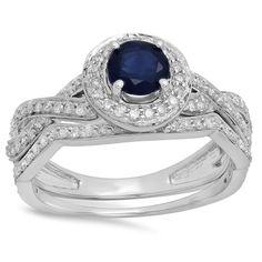 Elora 14k Gold 1 1/4ct TDW Blue Sapphire and White Diamond Bridal Set (I-J, I1-I2) (Size 7,White Gold), Women's