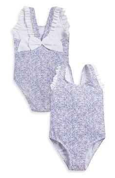 Fato de banho floral com laço azul