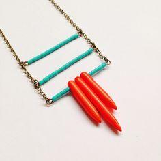// transcend // turquoise glass heishi beads + coral tone howlite spikes on custom length brass chain  #oveco #otravez #otravezecotique #ov_eco