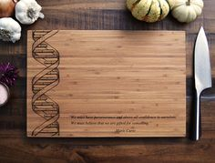 Custom Geekery - DNA Art - Personalized Engraved Bamboo Cutting Board - 10x15 - Christmas Gift, Science Student or Teacher Gift, Biology Art...