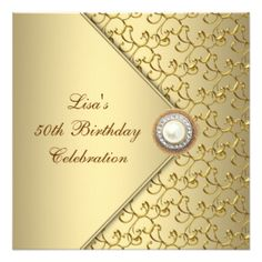 Gold diamond birthday invitation black damask adult birthday party gold pearl womans 50th birthday party personalized invitation 220 per card filmwisefo Choice Image
