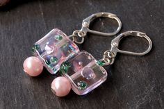Pink Spring Beaded Dangle Earrings by CharmingThreadwares on Etsy, £5.00