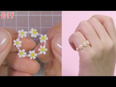 Making A Flower Ring Using Beads Diy Bracelets To Sell, Seed Bead Bracelets Tutorials, Macrame Jewelry Tutorial, Beaded Bracelets Tutorial, Handmade Bracelets, Beading Patterns Free, Seed Bead Patterns, Bead Jewellery, Beaded Jewelry