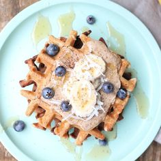 Weekends = Waffles ...Teff & coconut waffles with banana almond butter blueberries @rooftopbees honey and toasted coconut...They are of course gluten dairy and refined sugar free but also nut free and delicious! I'll be sharing the recipe soon   A huge thank you to @conscious_cooking for including us in the amazing and adorable food revolution day Snapchat takeover @thefeedfeed. Head to Snapchat thefeedfeed to view!  Thank you also to @foodrev and @jamieoliver for sharing the kids and I in…