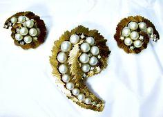 Trifari Pearl and Rhinestone Set Brooch and Earrings