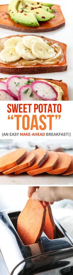 """Sweet Potato """"Toast"""" is a healthy gluten-free breakfast idea. You can top it just like you would toast! Check out my method for making it ahead of time so you can just pop it in the toaster for an easy WARM breakfast on the go! 