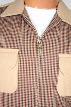 Size S+ Light Brown Men's Jacket with Checkered Front. See more or buy it at: http://www.reprovintageclothing.com/clothing/clothing_men/cm0321.html