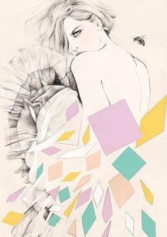 Illustration by Kelly Thompson. Kelly Thompson, Art And Illustration, Design Creation, Beautiful Artwork, Pattern Art, Fashion Art, Trendy Fashion, Fashion Ideas, Design Art