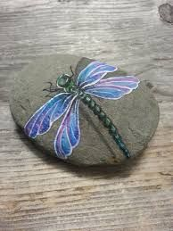 Image result for dragonfly rock painting
