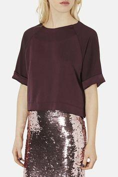 Topshop Roll Cuff Satin Tee available at #Nordstrom