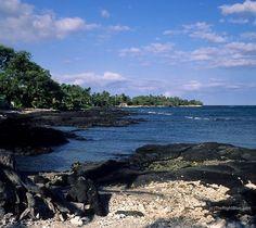 Black lava coastline of Puako, Hawaii ~ photo by B N Sullivan