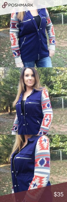 NWT Beautiful Aztec Print & Blue Jacket NWT Beautiful Aztec Print & Blue Jacket from Francesca's. Size medium. Runs true to size. Tags still attached. No flaws, stains, or holes. In excellent condition. Features 4 silver zipper pockets and is also lined. Francesca's Collections Jackets & Coats Utility Jackets