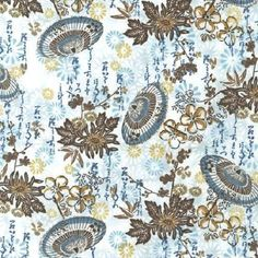 FABRIC FORMOSA Asian TEXT Japanese Chinese PARASOL Cherry Blossoms Gold Metallic #RobertKaufmanFabrics