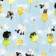 LEWE the EWE Sheep on Balloons ~ Cotton Fabric YARD cut of fabric This adorable sheep print is perfect for nursery decor, a baby or toddler Ewe Sheep, Sheep Art, Buy Fabric, Cotton Fabric, Sheep Cartoon, Craft Projects, Sewing Projects, Blue Quilts, Fabric Design