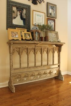 narrow foyer table still adds interest, great for really narrow hallway.