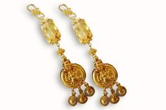 22 KARAT ANTIQUE STYLE CITRINE DROP EARRINGS.